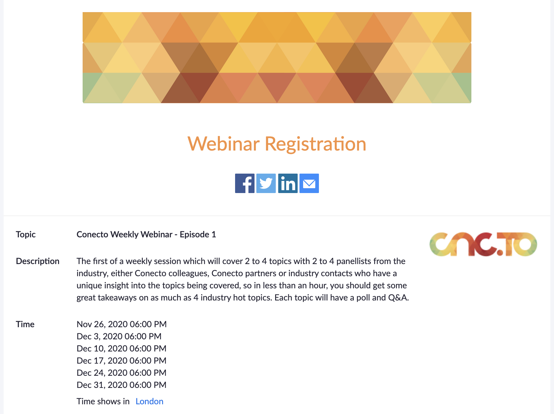 Weekly Webinars starting Thanksgiving 2020